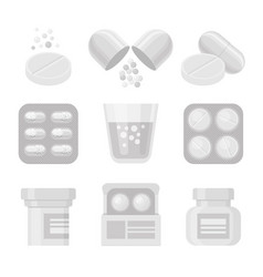 medicine and pills white realistic icon set vector image