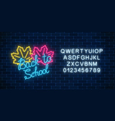 neon banner with back to school greeting text and vector image