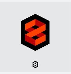 number 8 logo monogram consist folded lines vector image