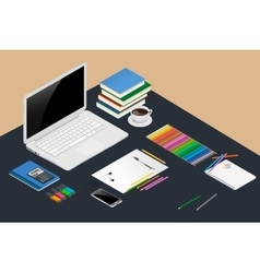 Office workspace design concept with open laptop vector