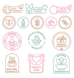 organic cosmetics badges bio beauty products for vector image