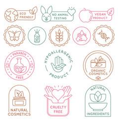 organic cosmetics badges bio beauty products vector image