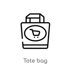 Outline tote bag icon isolated black simple line vector