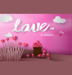 Paper art of happy valentine day with tree heart vector