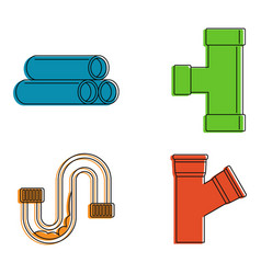 pipe icon set color outline style vector image