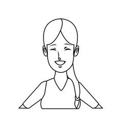 portrait young woman funny gesture cartoon vector image