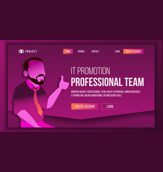 Professional team landing page concept vector
