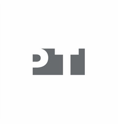 pt logo monogram with negative space style design vector image