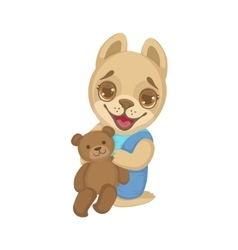 Puppy With Teddy Bear vector