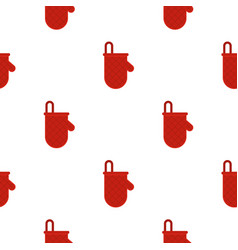 Red oven mitten pattern seamless vector