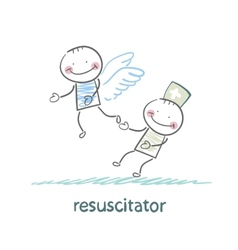 Resuscitator keeps flying away into the sky vector