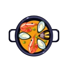 Seafood Soup in a Bowl Served Food vector image