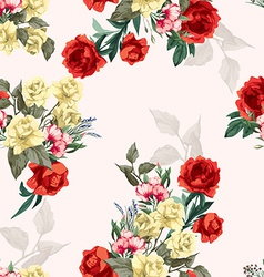 Seamless floral pattern with yellow and red roses vector
