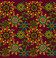Seamless pattern with bright colorful drawn vector