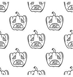 Seamless pattern with spooky halloween pumpkins vector