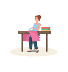 Seamstress sitting behind table and ironing red vector