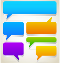 Set of rectangular 3d talk speech bubbles with vector