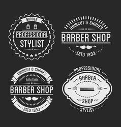 set vintage barber shop logo and beauty spa vector image