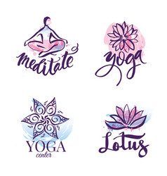 set yoga studio and meditation class logo vector image