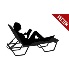 Silhouette of woman read book on chaise longue on vector