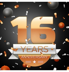 Sixteen years anniversary celebration background vector
