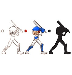 Sketches of a man playing baseball vector image