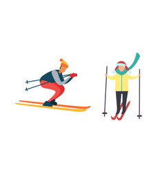 Skiing winter activities sport and hob vector