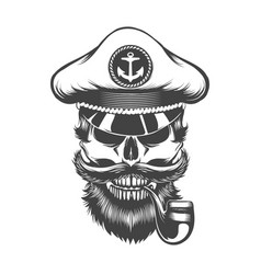 Skull in captain hat with smoking pipe vector