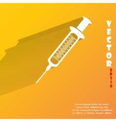 Syringe Flat modern web button with long shadow vector image