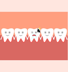 teeth one of which is sick vector image