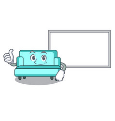 thumbs up with board sofa character cartoon style vector image
