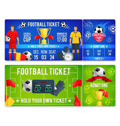 Tickets template for soccer football cup vector
