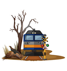 train ride in dry desert vector image