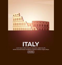 Travel poster to italy landmarks silhouettes vector