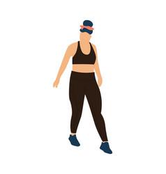 Trendy woman walking cartoon female in wears vector