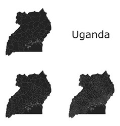 Uganda map with regional division vector
