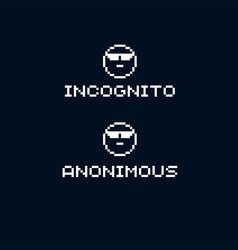 Unidentified person incognito flat 8 bit icon vector