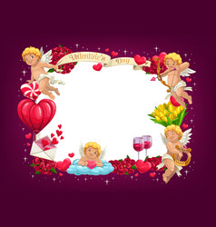 valentines day love hearts and flying cupids frame vector image