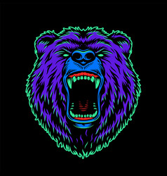 Vintage angry bear head colorful concept vector