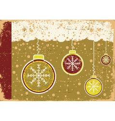 vintage christmas card on snow background with vector image