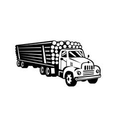 Vintage logging truck log truck log hauler vector