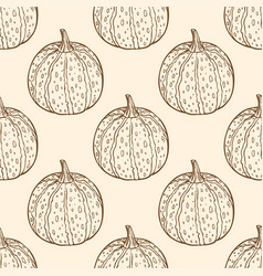 vintage seamless pattern with pumpkins vector image