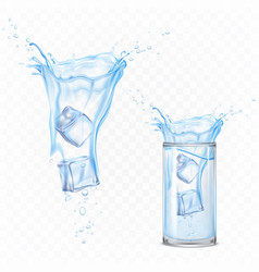 water splash with ice cubes and glass set motion vector image