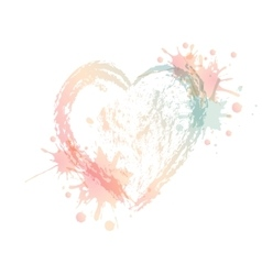 watercolor heart with splash vector image
