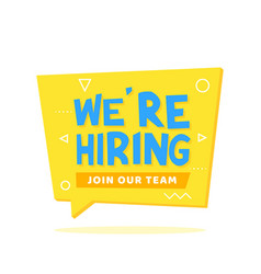 we are hiring lettering on origami speech bubble vector image