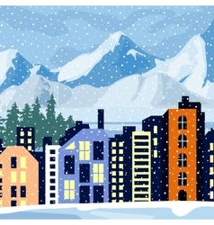 Winter cityscape Multi-colored home in the vector image