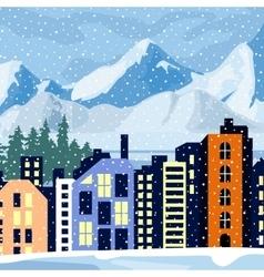 Winter cityscape Multi-colored home in the vector image vector image