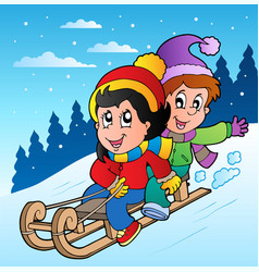 winter scene with kids on sledge vector image