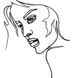 Woman profile continuous line drawing vector