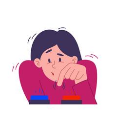 Young woman facing a dilemma vector